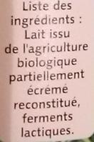Yoplait Bio nature - Ingredienti - fr