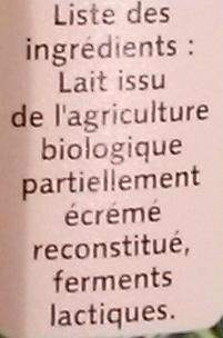 Yoplait Bio nature - Ingrédients