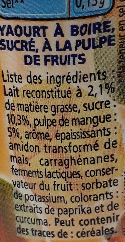 Yaourt à boire à la pulpe de mangue Yop mangue - Ingredienti - fr