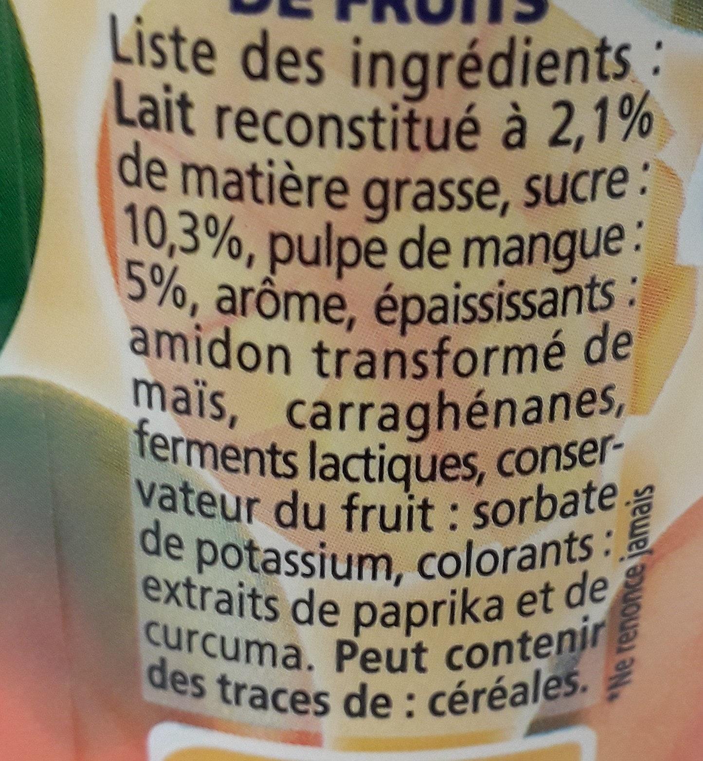 Yaourts à boire à la pulpe de mangue Yop mangue - Ingrediënten - fr