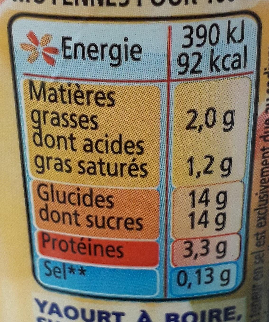 Yaourts à boire à la pulpe de mangue Yop mangue - Voedingswaarden - fr