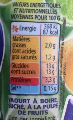 Yaourt à boire pulpe de citron YOP citron - Voedingswaarden - fr