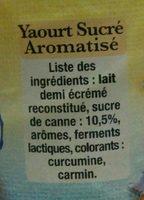 Yaourt aromatisé ferme - Ingrediënten