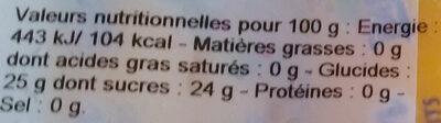 Fruisson - Valori nutrizionali - fr