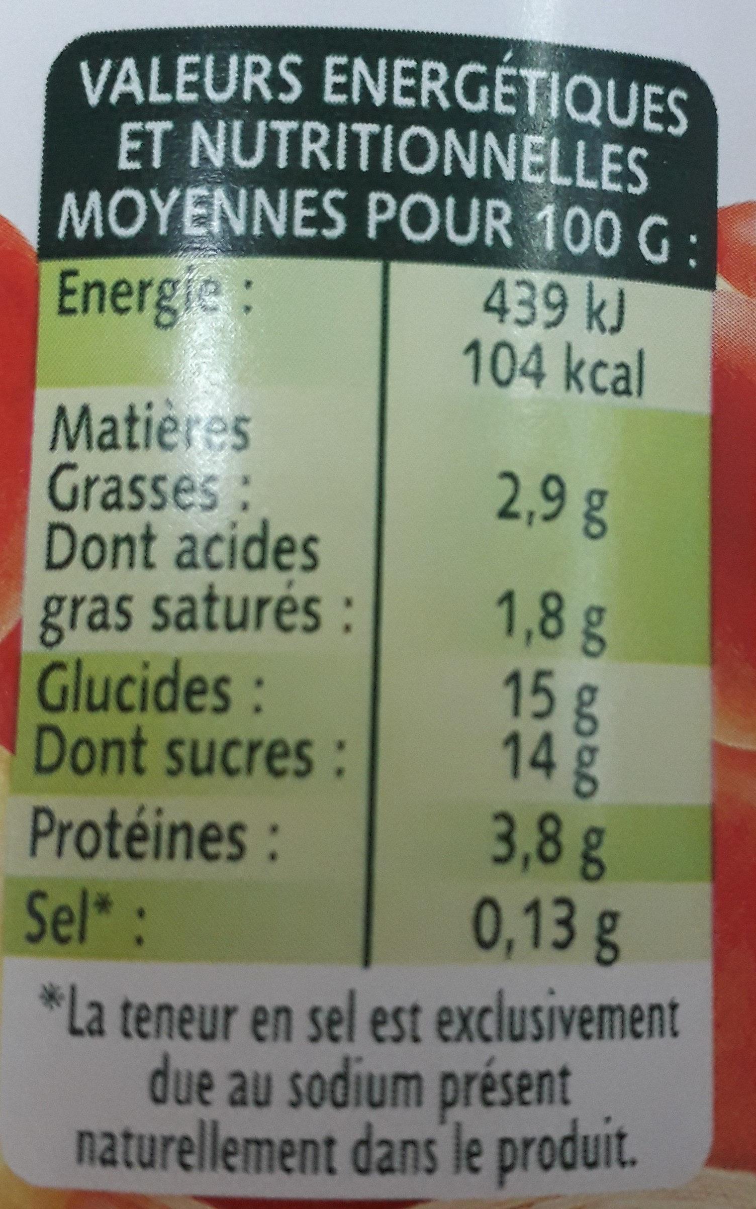 Panier de Yoplait pêche - Informations nutritionnelles - fr