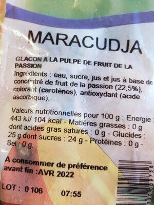 Fruisson fruit de la passion - Voedingswaarden - fr