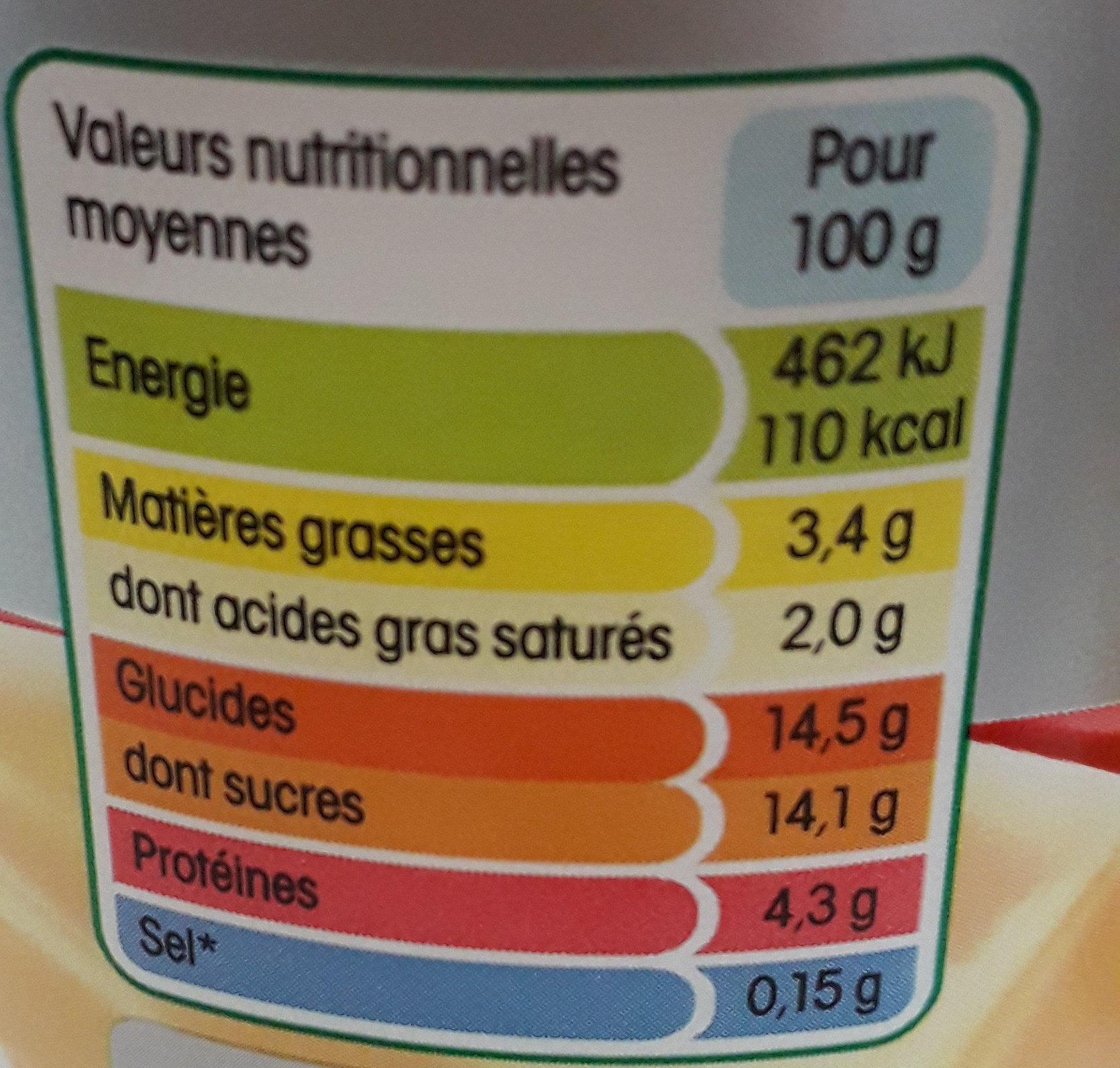 B de Yoplait vanille - Informations nutritionnelles - fr