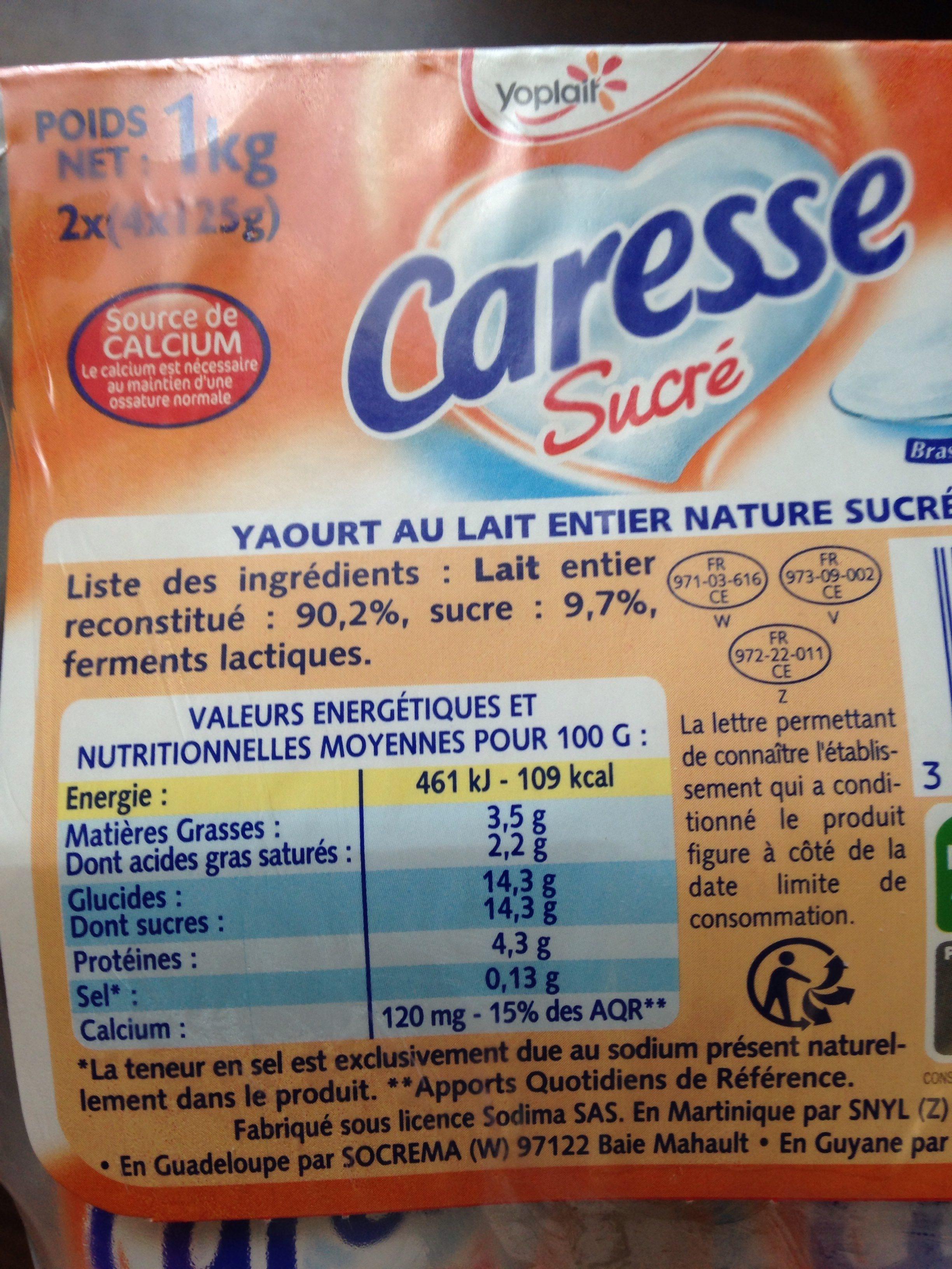 Caresse sucré - Ingredienti - fr