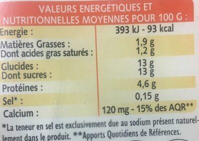 Yaourt sucré - Valori nutrizionali - fr