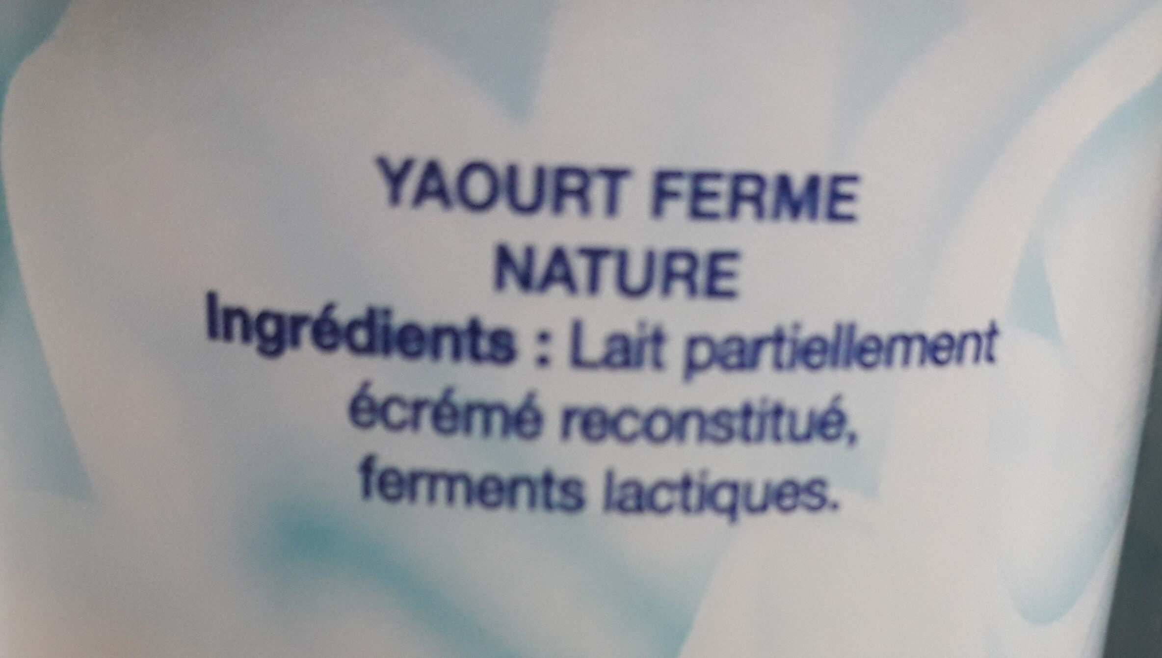 Yaourt Nature - Ingredienti - fr