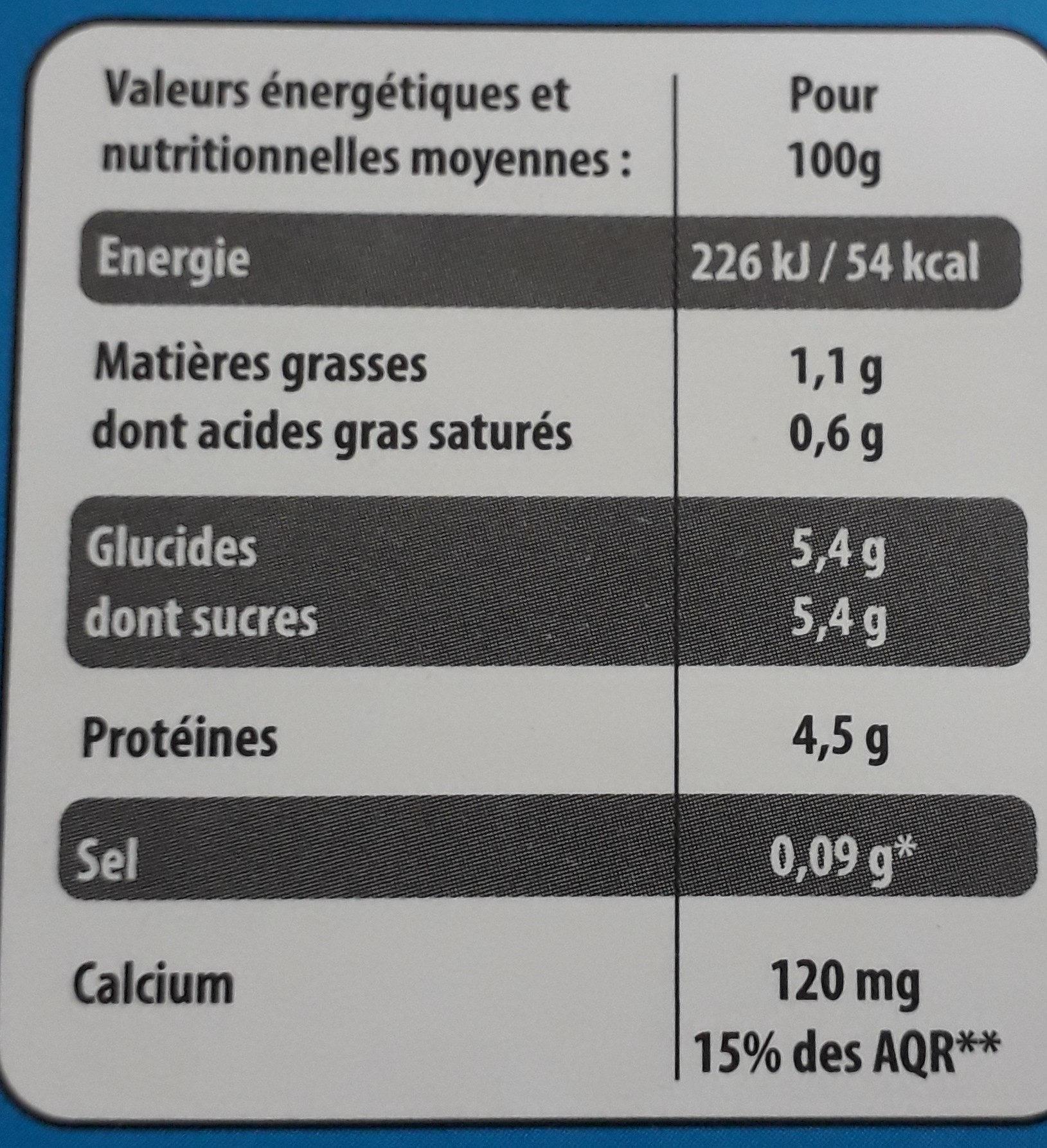 Yaourt nature - Valori nutrizionali - fr