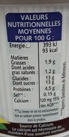aromatisé vanille - Valori nutrizionali - fr