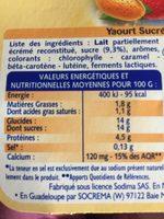 Yaourts Sucrés Aromatisés - Informations nutritionnelles - fr