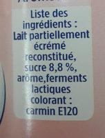 yaourt ferme aromatisé fraise - Ingrediënten