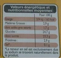 Dessert vanille - Valori nutrizionali - fr