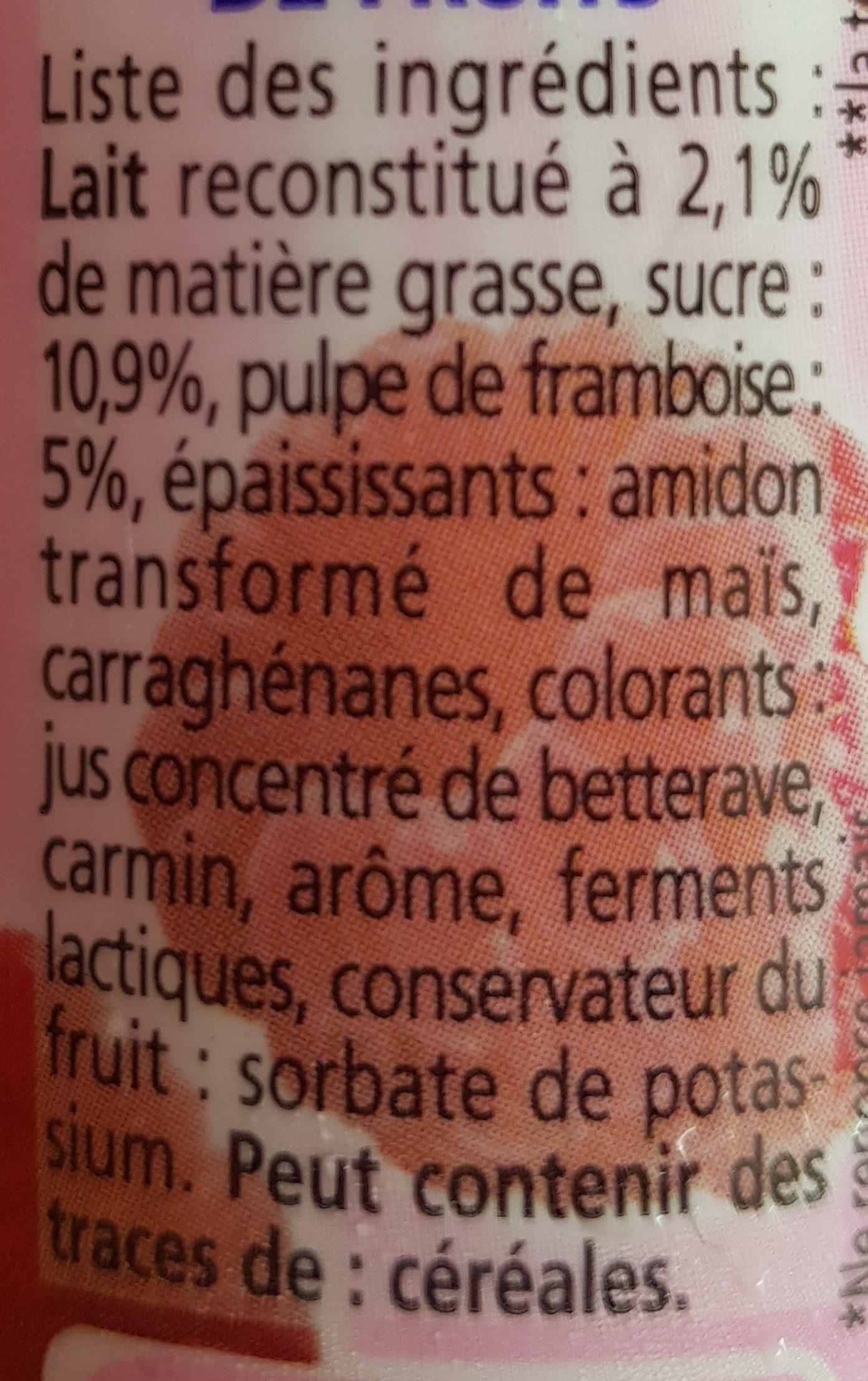 Yaourt à voire pulpe de framboise Yop - Ingrediënten - fr