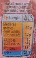 Yaourt à voire pulpe de framboise Yop - Voedingswaarden - fr
