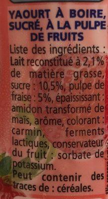 Yoaurt à boire pulpe fraise Yop Fraise - Ingrédients