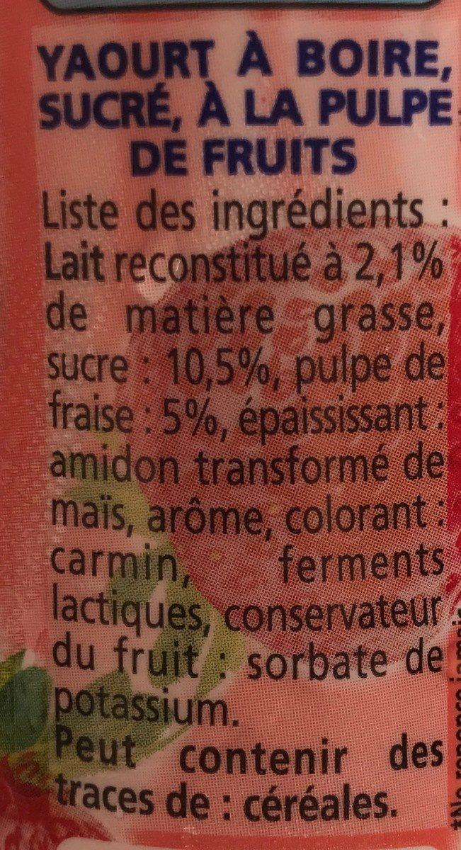 Yoaurt à boire pulpe fraise Yop Fraise - Ingrédients - fr