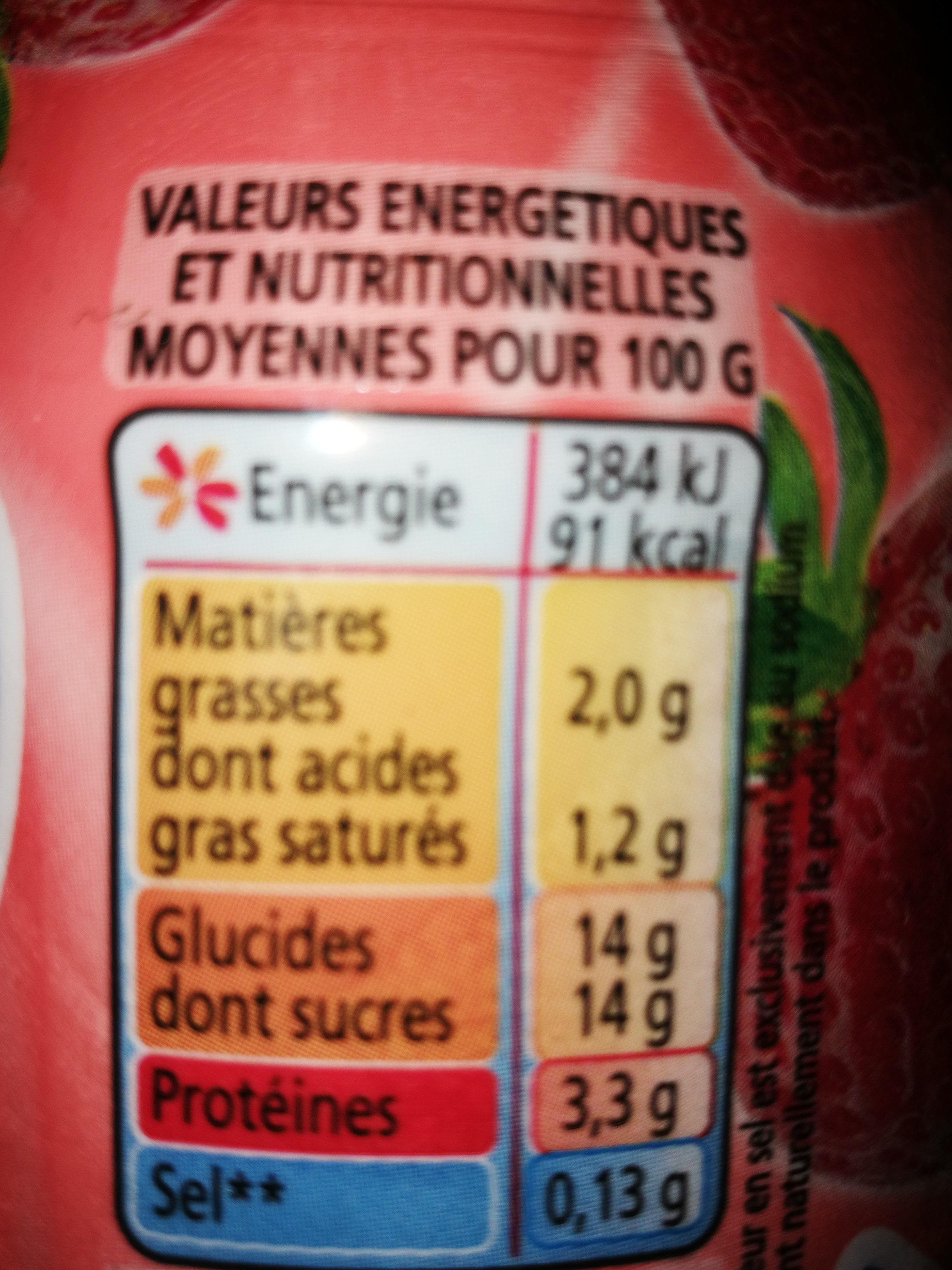 Yoaurt à boire pulpe fraise Yop Fraise - Informations nutritionnelles - fr