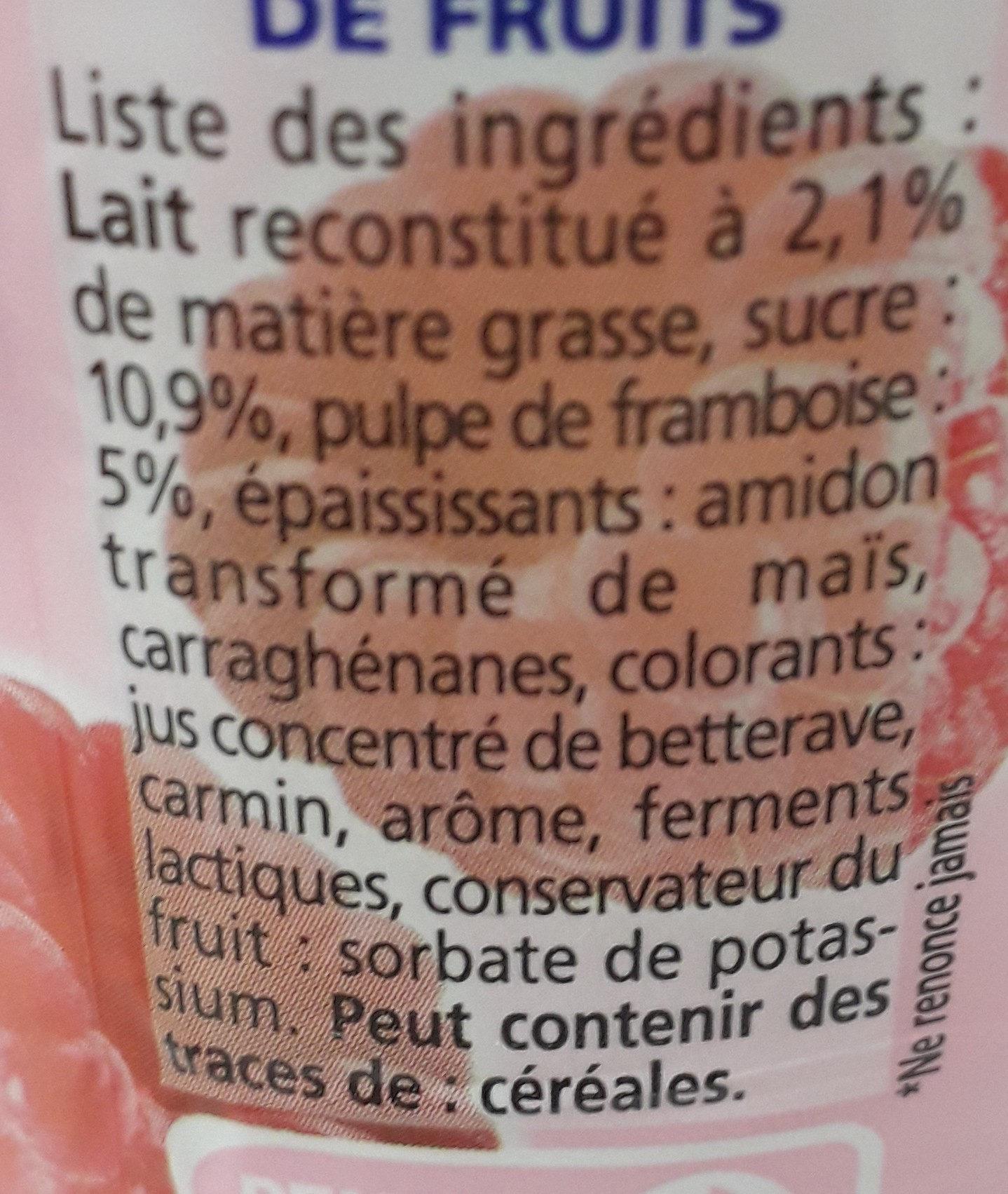 Yaourts à boire pulpe framboise Yop framboise - Ingrediënten - fr