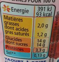 Yaourts à boire pulpe framboise Yop framboise - Voedingswaarden - fr