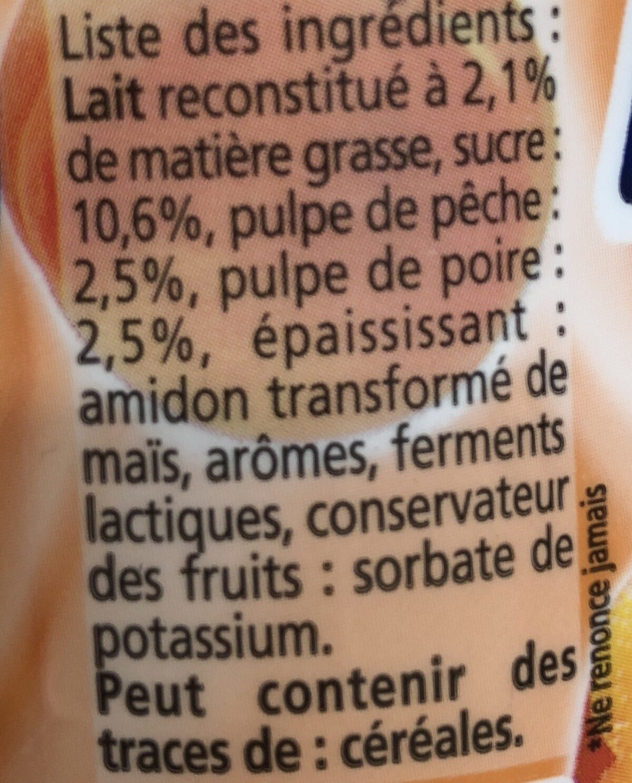 Yop pulpe pêche-poire - Ingrediënten - fr