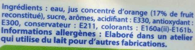 Caresse Antillaise Orange - Ingrediënten - fr