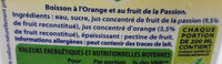 boisson Orange passion - Ingrediënten - fr