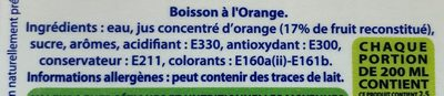 boisson orange - Ingredienti - fr