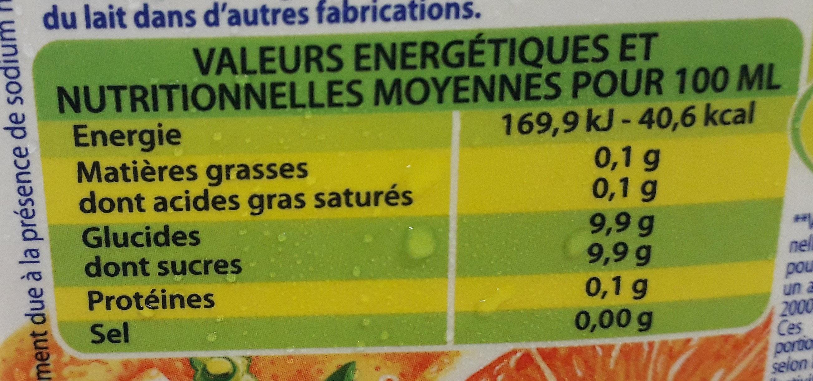 boisson orange - Valori nutrizionali - fr