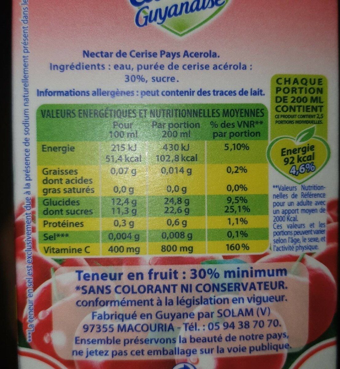 Cerise pays Acerola - Valori nutrizionali - fr