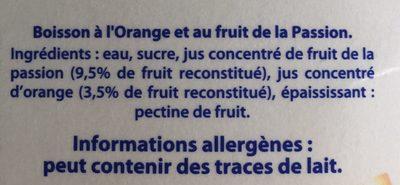 Jus Orange Passion - Ingredienti - fr