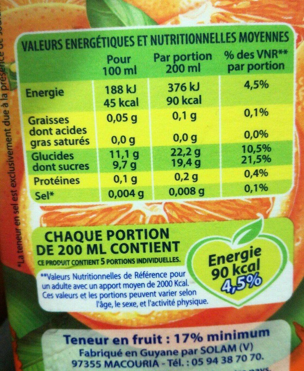 Boisson orange - Voedingswaarden
