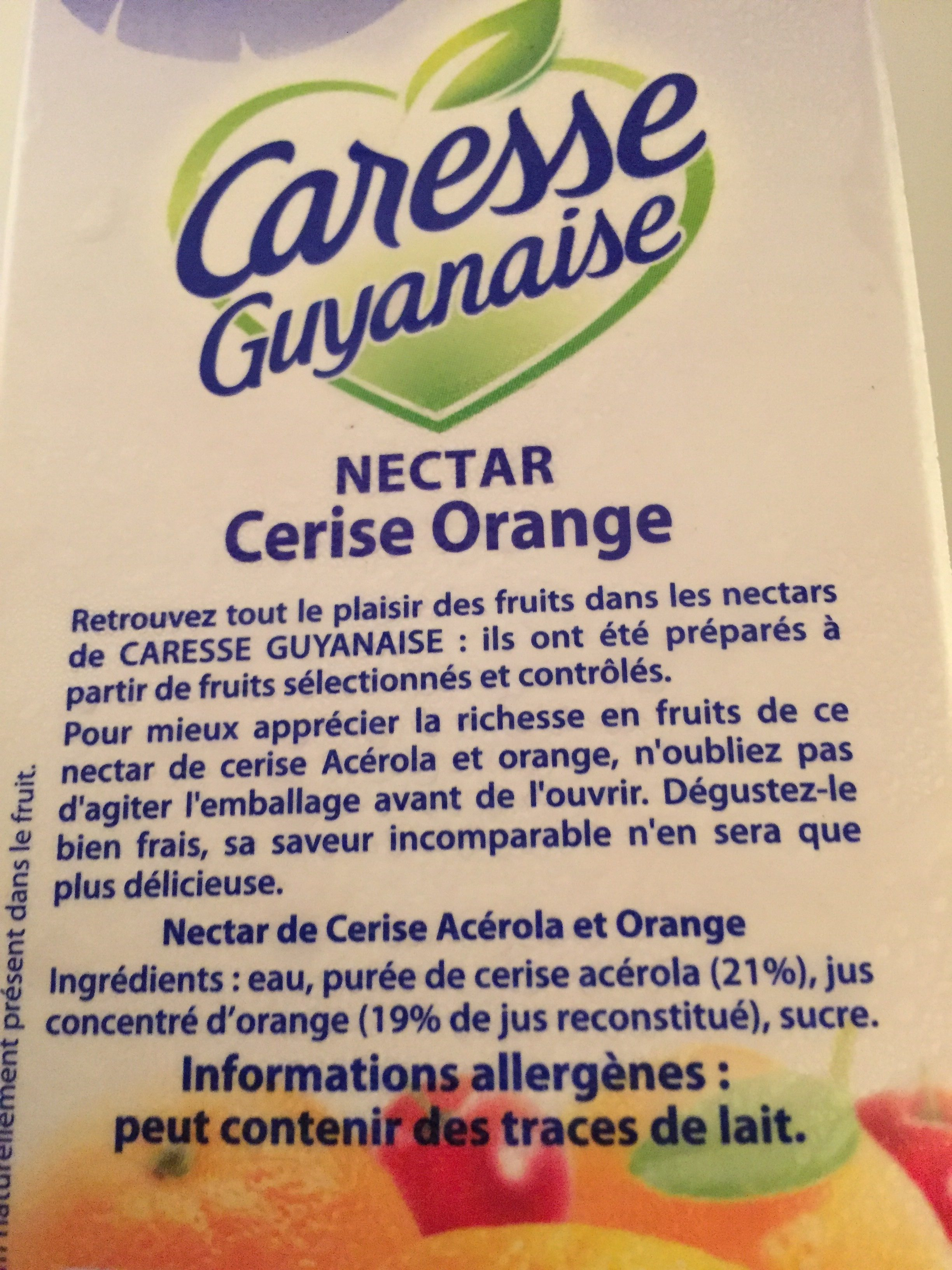 Nectar de fruits cerise orange - Ingrediënten