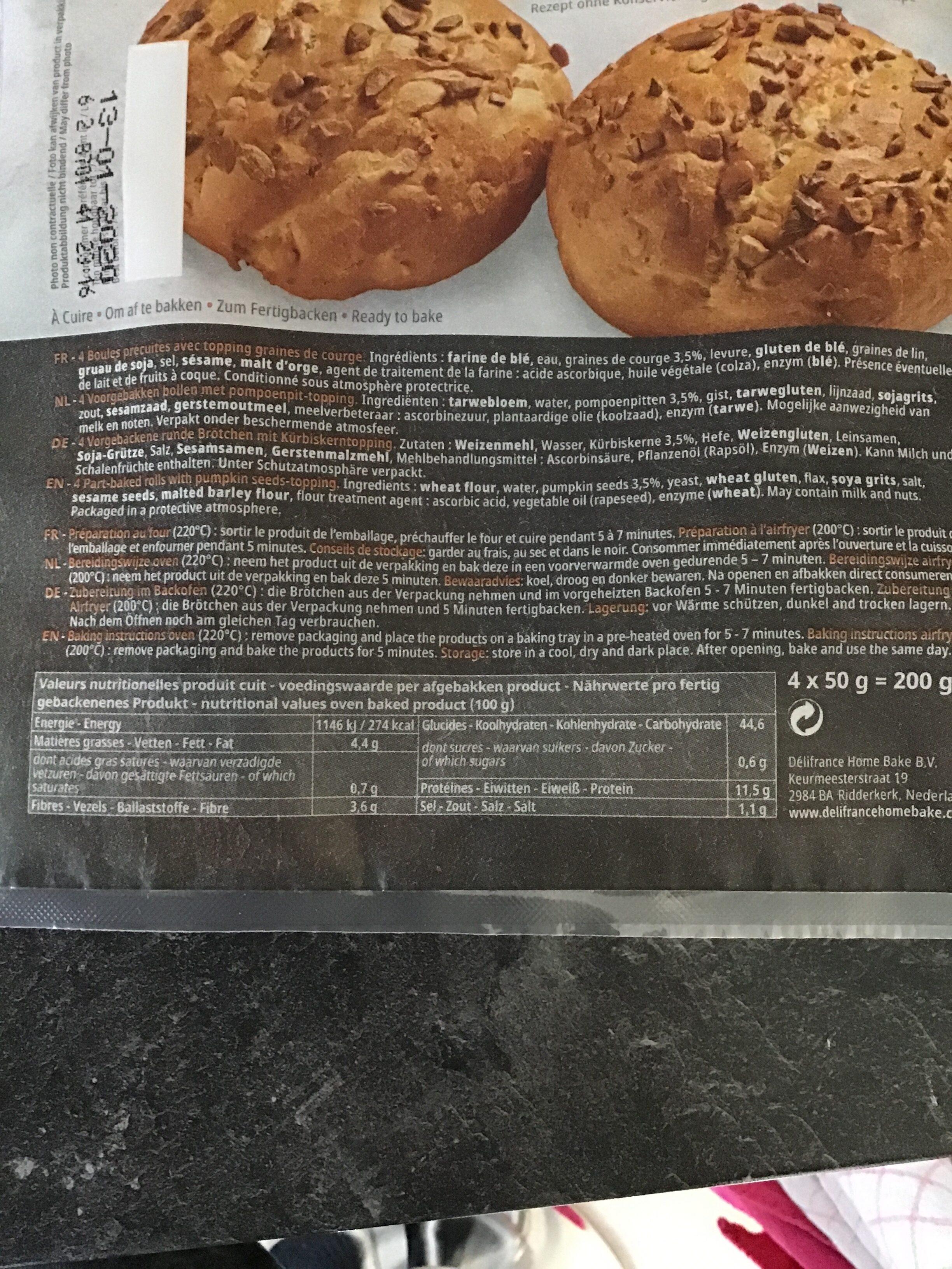 4 boules graines de courge - Nutrition facts - nl