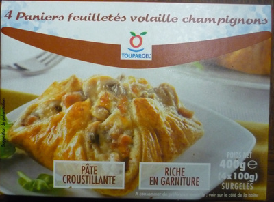 4 Paniers feuilletés volaille champignons - surgelés 400 g - Product