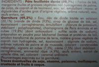 4 Paniers feuilletés volaille champignons - surgelés 400 g - Ingrédients - fr