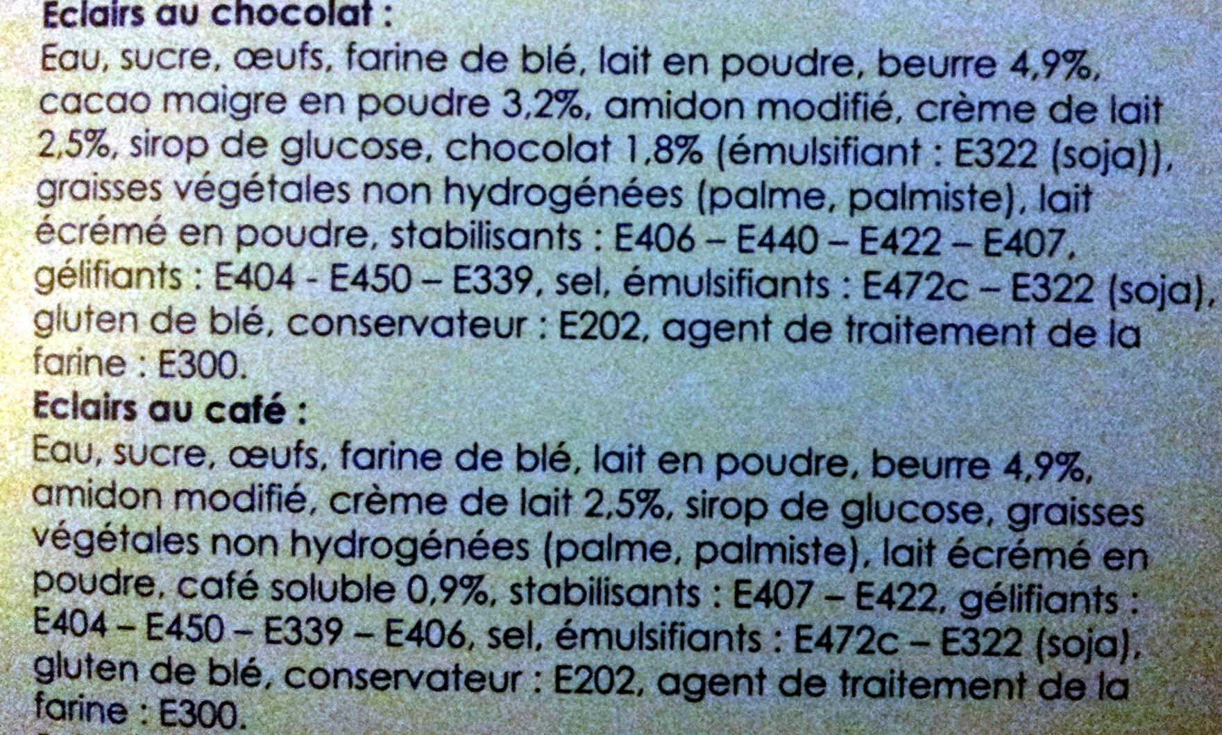 Les 12 éclairs au café et au chocolat - Ingrédients - fr
