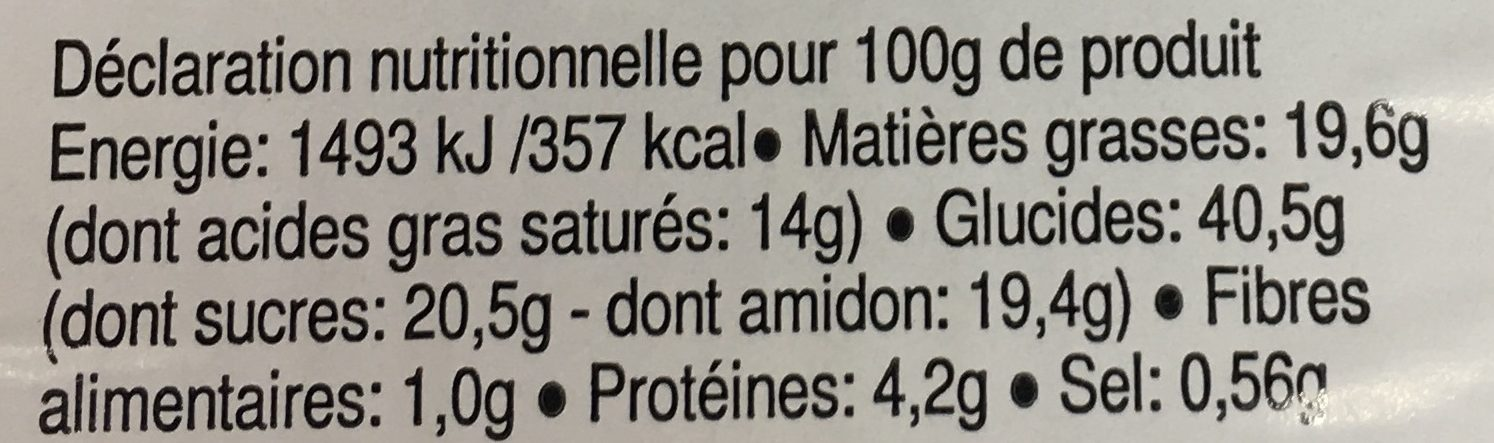 Mille-Feuilles - Informations nutritionnelles