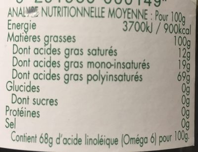 Huile de pépin de raisin - Nutrition facts