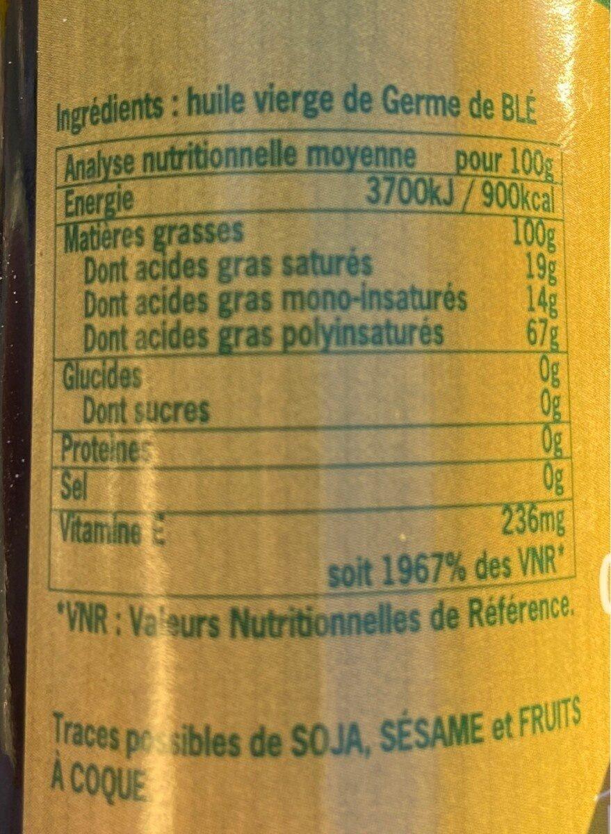 Huile Germe De Ble - Informations nutritionnelles - fr