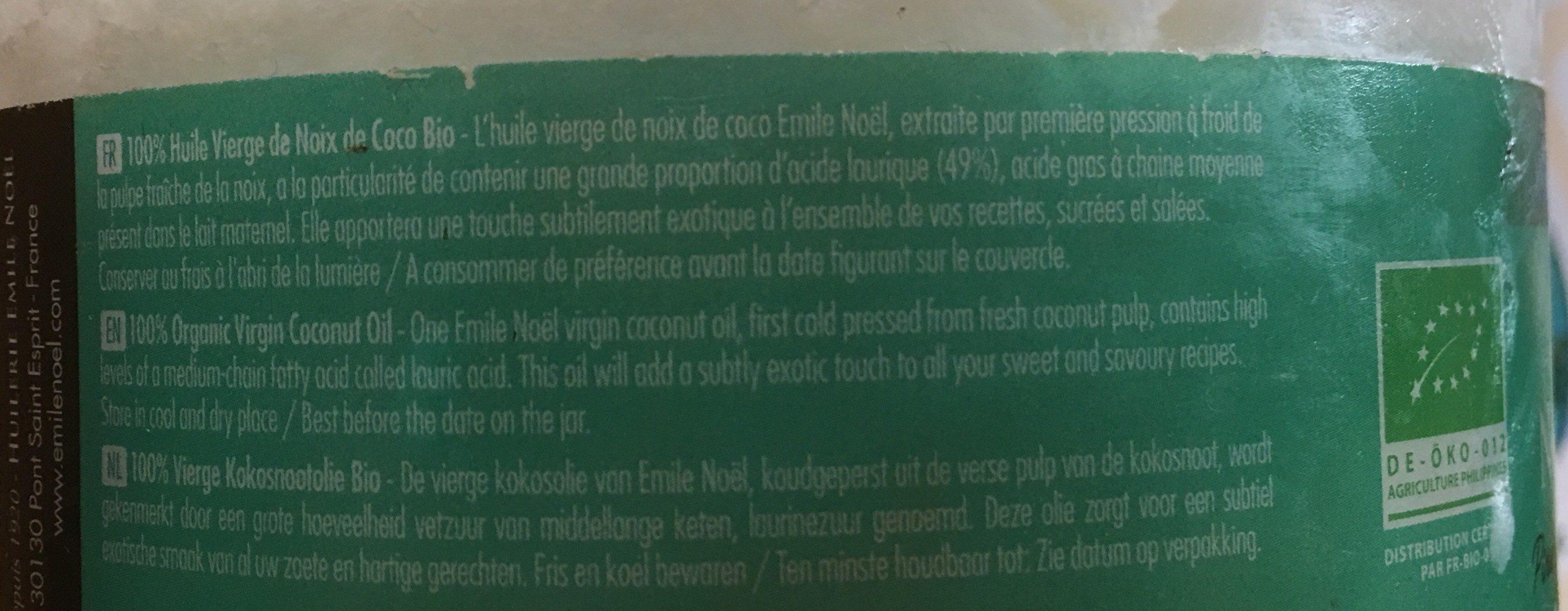 Huile vierge de noix de coco bio - Ingrédients - fr
