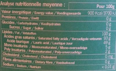Huile vierge de noix de coco bio - Informations nutritionnelles - fr