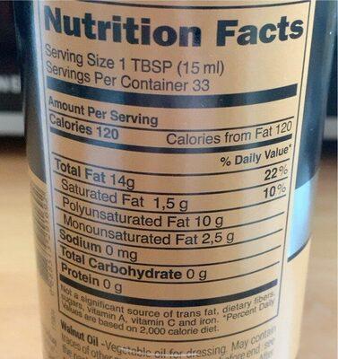 Walnut Oil - Informations nutritionnelles - fr