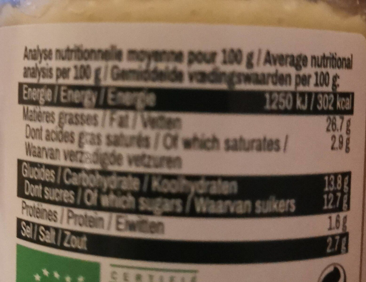PULPE D'AIL BIO - Informations nutritionnelles - fr