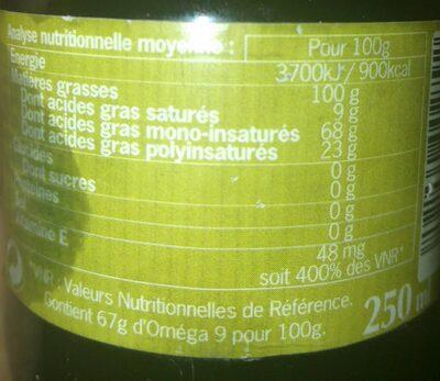 Huile Vierge D'amande Douce - Nutrition facts