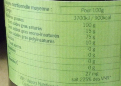 Huille d'olive - Nutrition facts