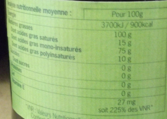 Huile d'olive vierge extra biologique - Nutrition facts