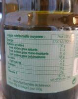 Huile de tournesol desodorisée - Informations nutritionnelles - fr